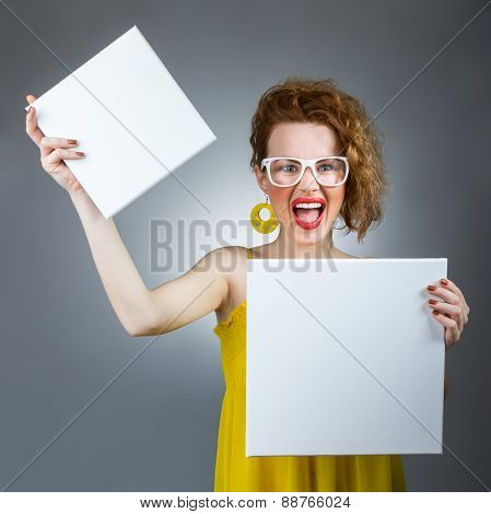 Funny Woman Holding Blank White Board, Space For Your Text