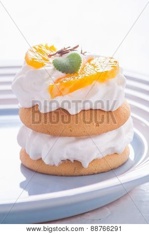Small Biscuits With Fruits And Whipped Cream