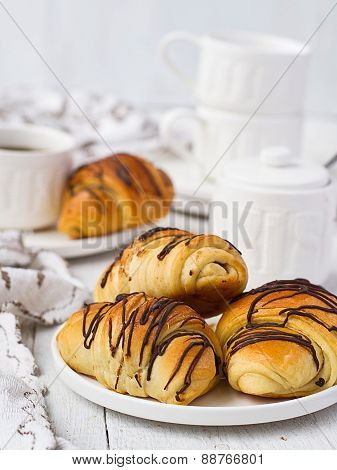 Puff Pastry Rolls With Chocolate And Coffee Cup