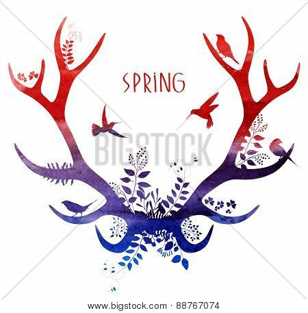Spring deer. watercolor silhouette. vector illustration isolated on white