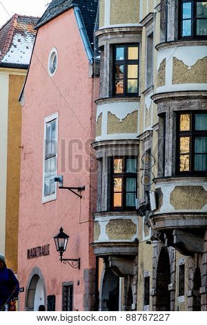 historic town house facades, symbol of architecture,
