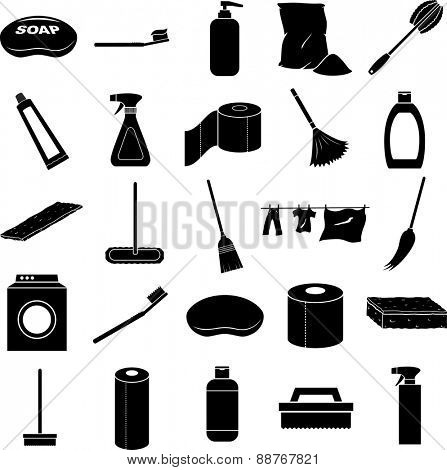 cleaning symbols set