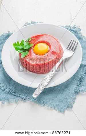 Beef Tatar With Egg.