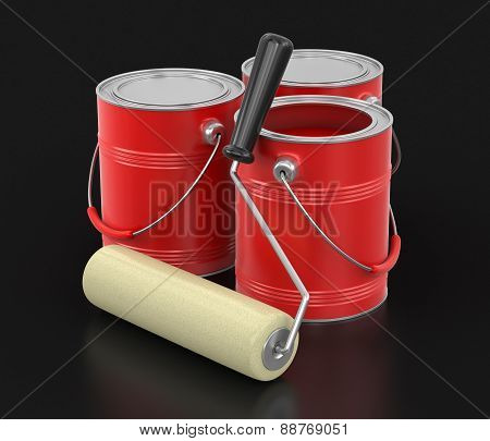Paint roller and Cans of paint (clipping path included)