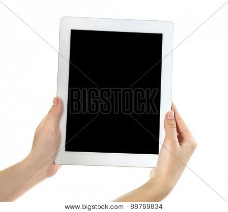 Female hands holding digital tablet isolated on white