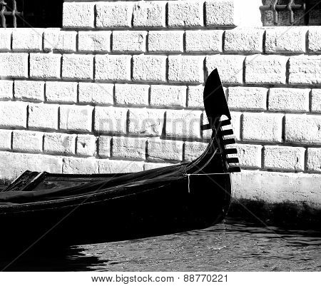 Detail Of The Prow Of The Gondola In Venice Italy