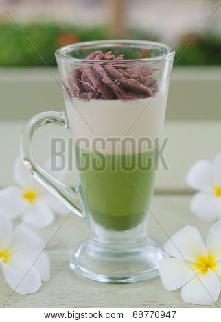 Green Tea And Red Bean Pudding In A Glass