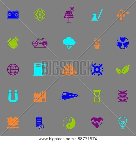 Renewable Energy Icons Fluorescent Color On Gray Background