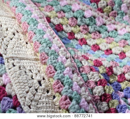 pretty handmade crochet afghan wool blanket