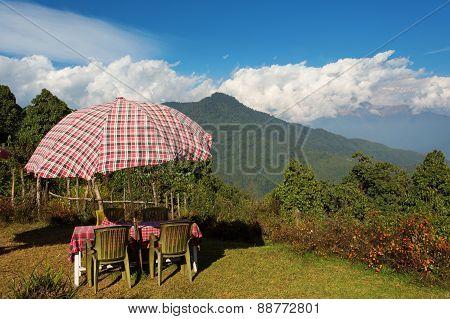 View Of Mountain Himalaya From A Beautiful Terase