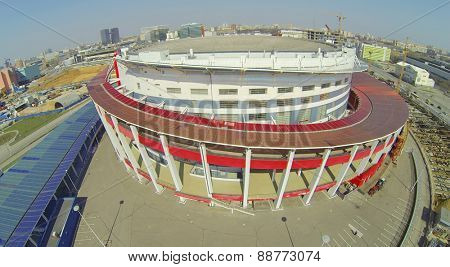 MOSCOW, RUSSIA - APRIL 20, 2014: The building of the Palace of Sports Megasport. The palace was opened December 15, 2006