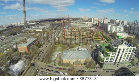 MOSCOW, RUSSIA - APRIL 05, 2014: Ostankino TV Tower and Construction Site NTV television company on a sunny day, aerial view