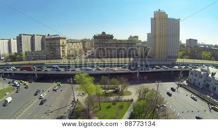 MOSCOW, RUSSIA - APRIL 26, 2014: Cityscape with buildings Rosneft and Holiday inn and Novorizhskaya overpass next to the Rizhsky Railway Station, aerial view