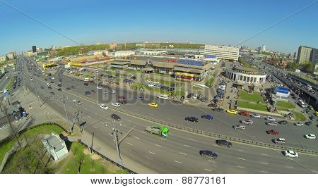 MOSCOW, RUSSIA - APRIL 26, 2014: The road next to the department store Krestovskiy, aerial view. This is a modern shopping complex, located near the metro Rizhskaya