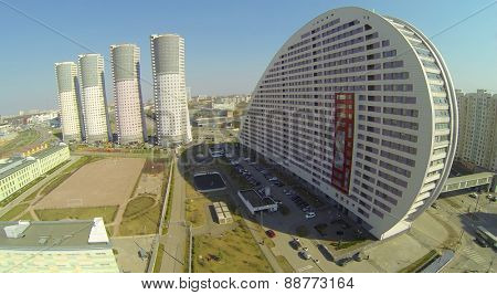 MOSCOW, RUSSIA - APRIL 20, 2014: Dwelling complex Parus at spring sunny day, aerial view. House is designed for 272 apartments with total area 29000 sq. meters