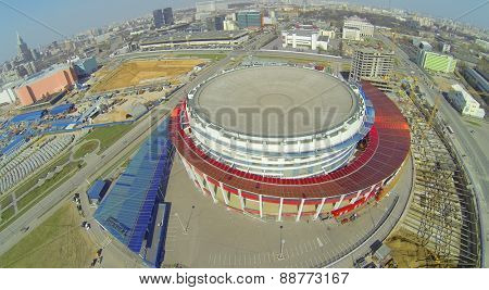 MOSCOW, RUSSIA - APRIL 20, 2014: The building of the Palace of Sports Megasport and construction site. The palace was opened December 15, 2006