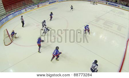 MOSCOW, RUSSIA - APRIL 26, 2014: Game of hockey among childrens teams at the Ice Palace of Sports Sokolniki, aerial view