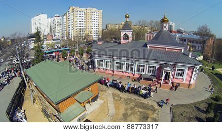 MOSCOW, RUSSIA - APRIL 19, 2014: Transfiguration Church in Bogorodskoe, aerial view. It is the only surviving wooden church of the XIX century in Moscow