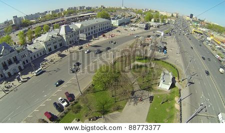 MOSCOW, RUSSIA - APRIL 26, 2014: Road and park next to the Rizhsky Railway Station, aerial view. The station building was constructed in 1897-1901 years