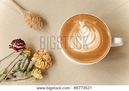 A Cup Of Latte Art On Brow Background, Vintage Coffee