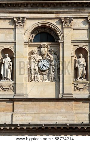 Fragment of facade of the Chapelle de la Sorbonne in Paris France