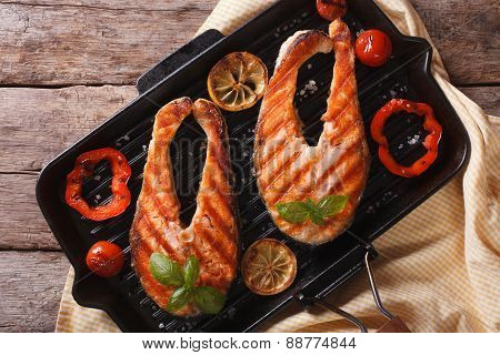 Salmon Steaks And Grilled Vegetables In Pan Horizontal Top View