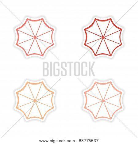 assembly realistic sticker design on paper sun umbrella