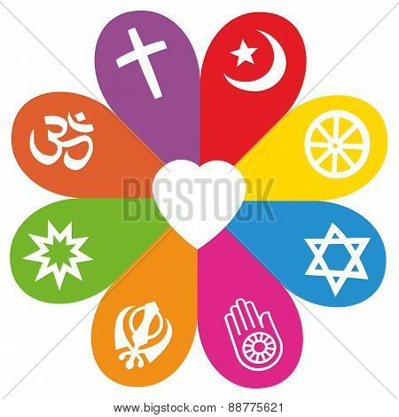 Religion Symbols Flower Love Colors