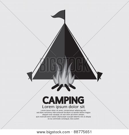 Tent And Campfire For Camping.