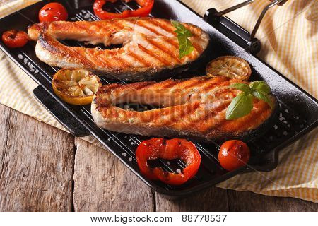 Two Salmon Steak And Vegetables On The Grill, Horizontal