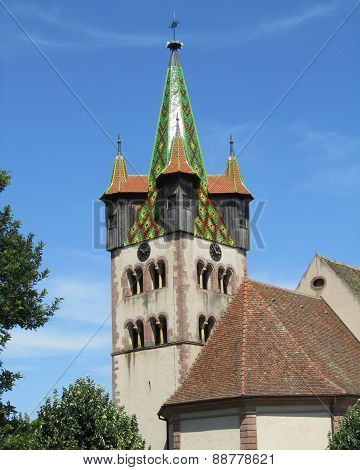 Green Spired Church, France