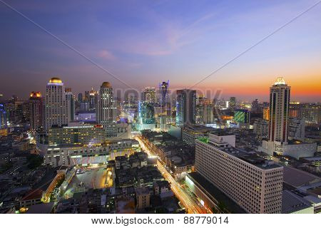 City Scape In Heart Of Bangkok Thailand With Beautiful Lighting Of Office Building And Sky Scrapper