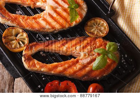 Delicious Salmon Steak And Vegetables On The Grill Pan