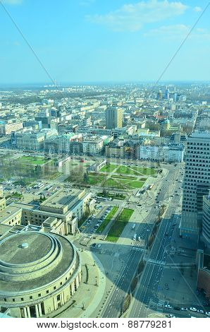 Warsaw, Poland. Aerial view downtown business skyscrapers