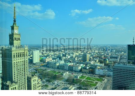Warsaw city centre. Aerial view