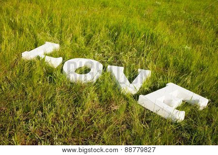 white letters love on green grass