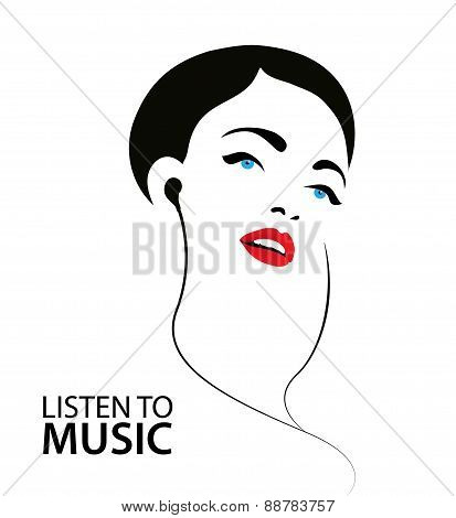 vector sihouette illustration, poster a woman listening to the music