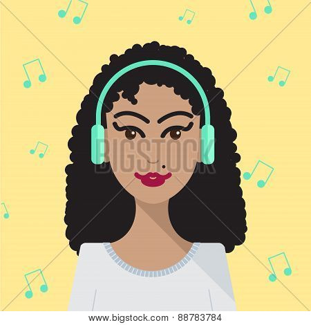 vector woman listening to music illustration