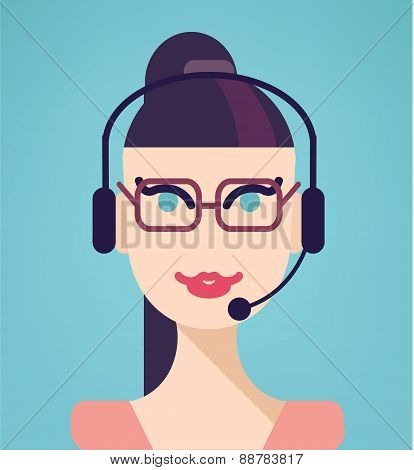 Vector portrait of happy smiling cheerful support phone operator in headset, isolated on blue backgr