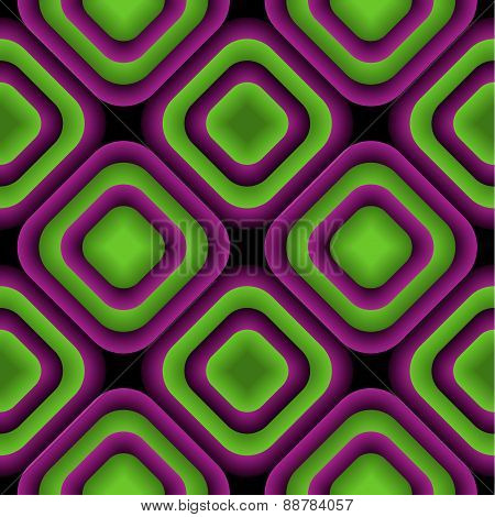 Bulge Rhombuses Optical Illusion Vector Seamless Pattern