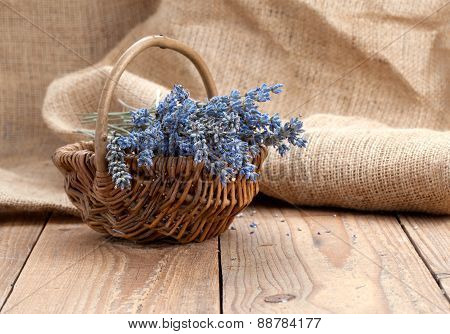 Dry Lavender Flower In A Basket