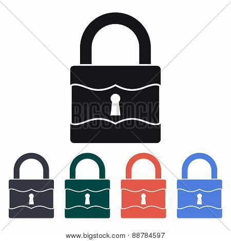 Vintage Padlock Icon, Vector Illustration