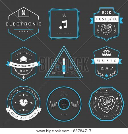 Vector Badges Rock, Rap, Classical And Disco Music