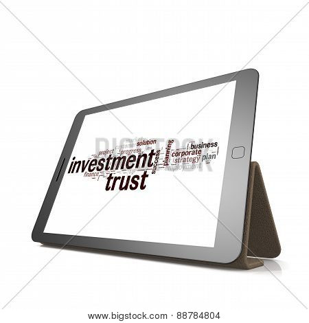 Investment Trust Word Cloud On Tablet