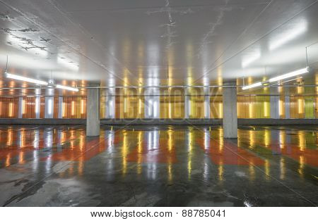 Indoor car park with empty parking lots