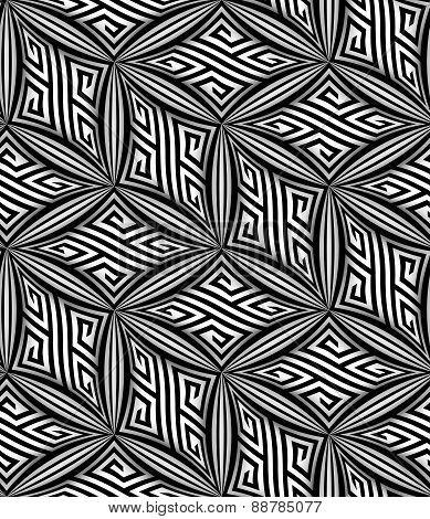 Abstract Op Art Zigzag Vector Seamless Pattern