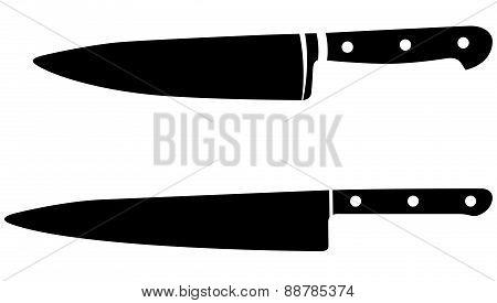 Vintage And Modern Chef Knifes, Vector Illustration