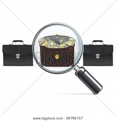 Vector Investment Briefcase With Lens