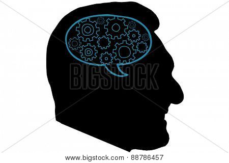 Cogs and wheels graphic against silhouette of head