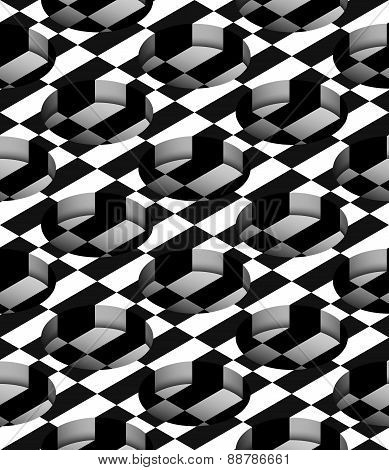 Checkered 3D Cylindrical Holes Vector Seamless Pattern